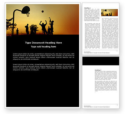 Sports: Street Basketball Word Template #03843