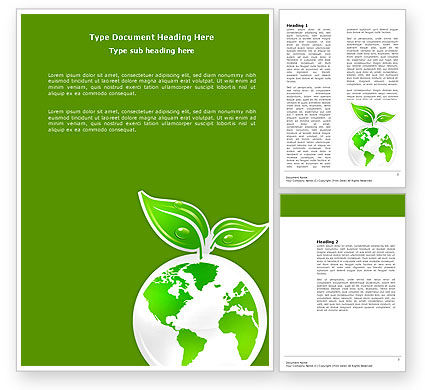 Green Planet Word Template, 03867, Nature & Environment — PoweredTemplate.com