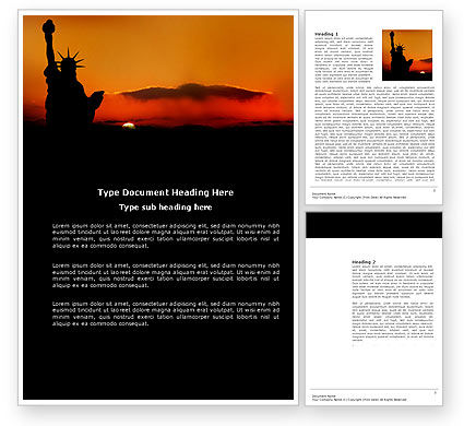 America: Sunset of Liberty Word Template #03876