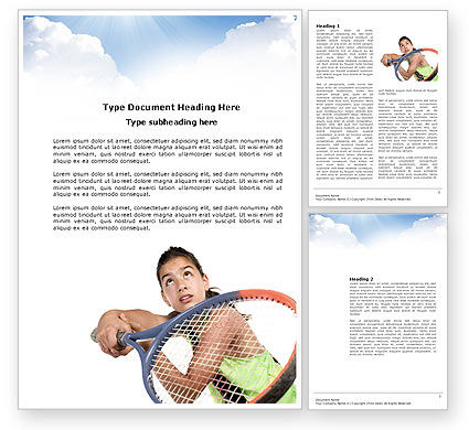 Girl With Tennis Racket Word Template, 03892, Sports — PoweredTemplate.com