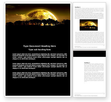 Yellow Moon Word Template, 03895, Nature & Environment — PoweredTemplate.com