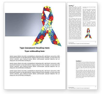 Religious/Spiritual: Autism Awareness Ribbon Word Template #03914