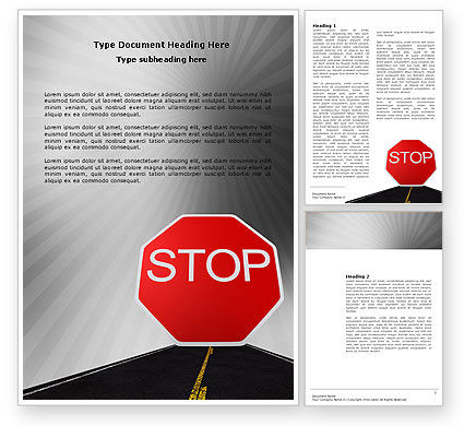 Stop Sign Word Template, 03928, Cars/Transportation — PoweredTemplate.com