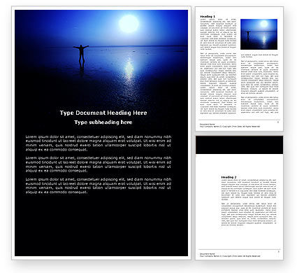 Nature & Environment: Blue Sunset Word Template #03932