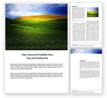 Nature & Environment: Green Field Under The Sun And Blue Sky Word Template #03958
