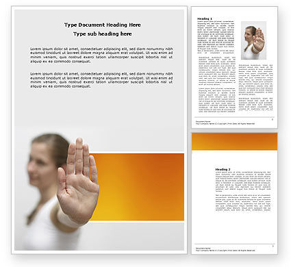 Stop Gesture Word Template, 03972, People — PoweredTemplate.com