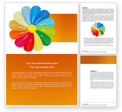 Rainbow Calendar Word Template 03981 – Training Calendar Template
