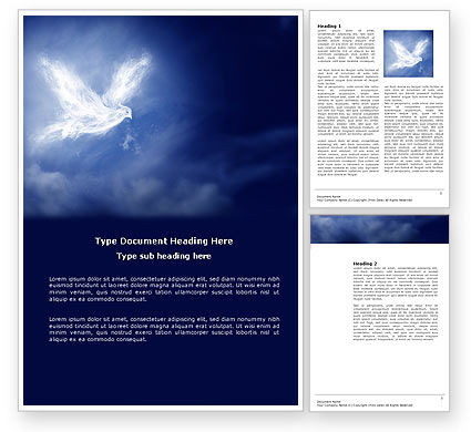 Religious/Spiritual: Peace Dove Word Template #03984