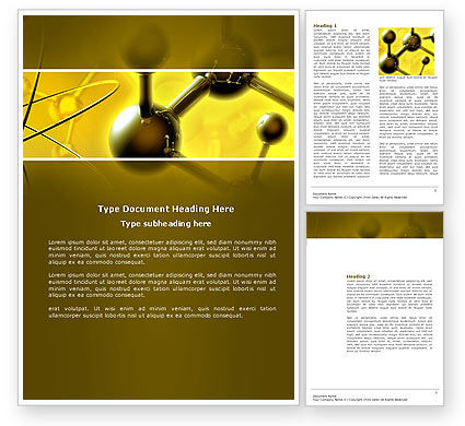 Technology, Science & Computers: Molecular Lattice In Dark Yellow Colors Word Template #04002