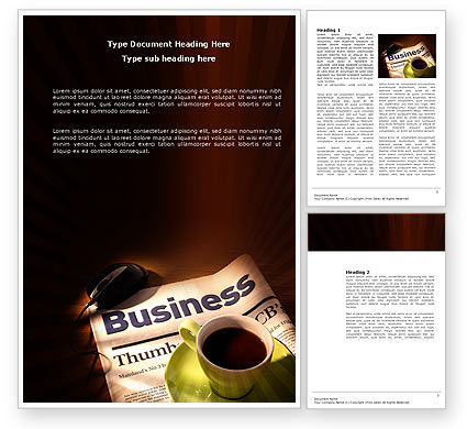Business: Business Newspaper With Cup Of Coffee Word Template #04004