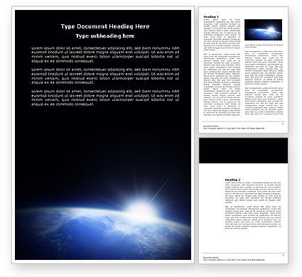 Nature & Environment: Blue Sunrise in Space Word Template #04008