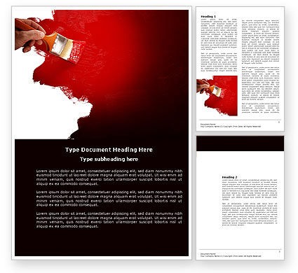 Careers/Industry: Red Paint Word Template #04010