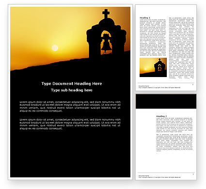 Religious/Spiritual: Bell Tower Word Template #04011