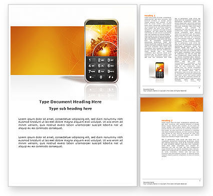 Telecommunication: Cellular Phone In Orange Colors Word Template #04021