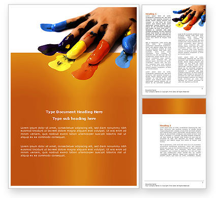 Painted Fingers Word Template, 04025, Education & Training — PoweredTemplate.com