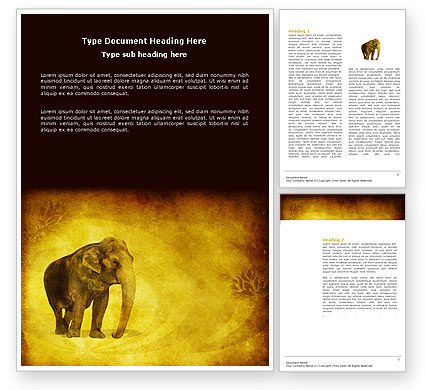 Indian Elephant Word Template, 04027, Agriculture and Animals — PoweredTemplate.com