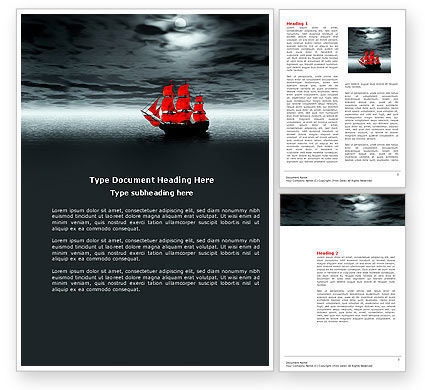 Scarlet Sails Word Template, 04038, Art & Entertainment — PoweredTemplate.com