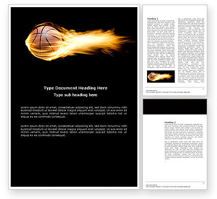 Flaming Basketball Word Template, 04054, Sports — PoweredTemplate.com