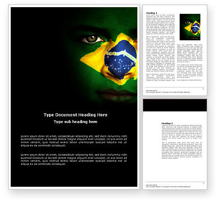 Face Of Brazil Word Template, 04059, Flags/International — PoweredTemplate.com
