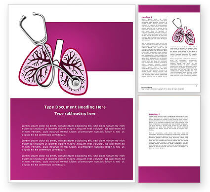 Human Lungs Word Template, 04078, Medical — PoweredTemplate.com