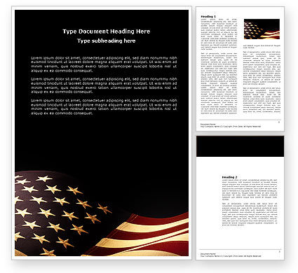 America: Old Glory USA Flag Word Template #04083