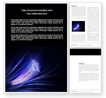 Telecommunication: Fiber Optic Connection Word Template #04098