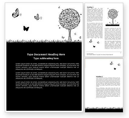 Education & Training: Butterfly Motif Word Template #04103