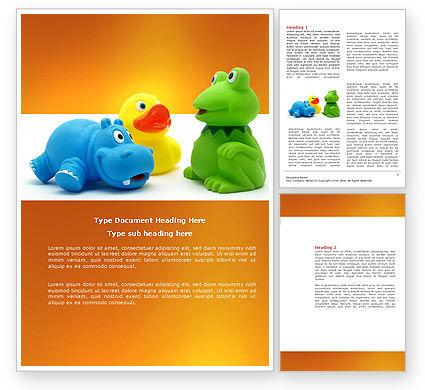 Stuffed Toys Word Template, 04109, Education & Training — PoweredTemplate.com