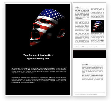 Voice of America Word Template, 04120, America — PoweredTemplate.com