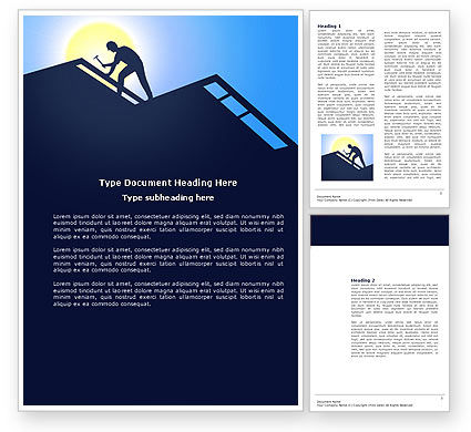 Construction: Builder On A Roof Word Template #04121