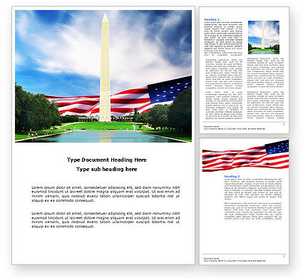 America: Washington Monument Word Template #04126