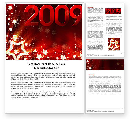 Holiday/Special Occasion: 2009 yr with Star Word Template #04130
