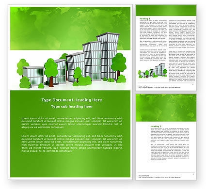 Green District Word Template, 04147, Construction — PoweredTemplate.com
