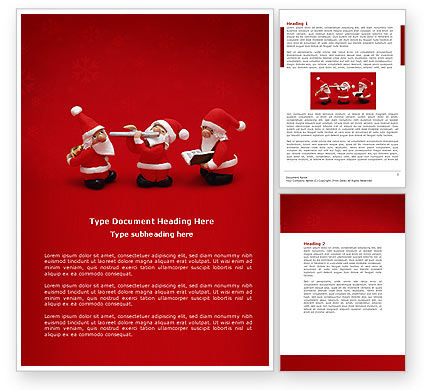 Holiday/Special Occasion: Little Santa Clauses Word Template #04153