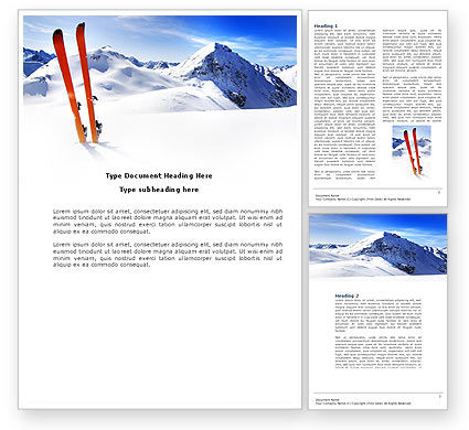 Sports: Skis Word Template #04169
