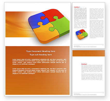 Business Concepts: Jigsaw Pieces Word Template #04170