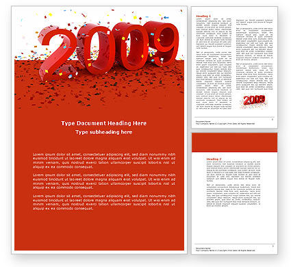 Holiday/Special Occasion: 2009 Yr In Red Word Template #04172