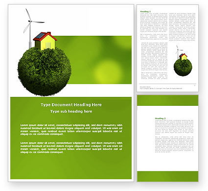 Nature & Environment: Green Planetoid Word Template #04184
