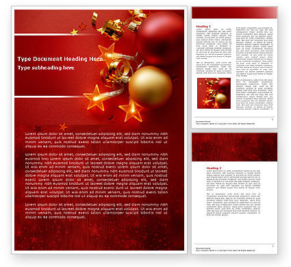 Red Christmas Theme Word Template 04186 | PoweredTemplate.com