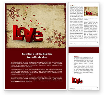 Free Christmas Love Word Template, 04198, Holiday/Special Occasion U2014  PoweredTemplate.com  Christmas Letter Template Word Free
