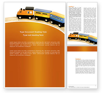 Toy Train Word Template, 04200, Cars/Transportation — PoweredTemplate.com