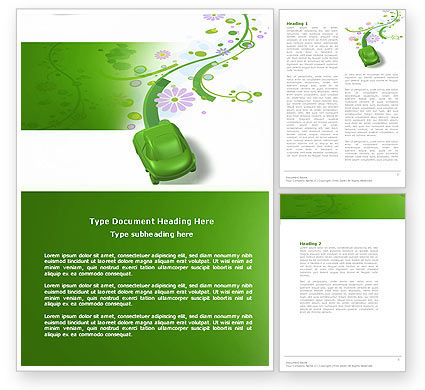 Green Car Word Template, 04204, Nature & Environment — PoweredTemplate.com