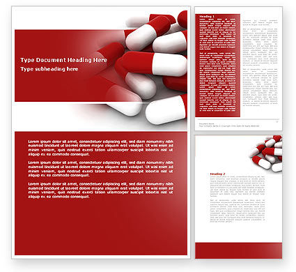 Medical: Red White Pills Word Template #04208
