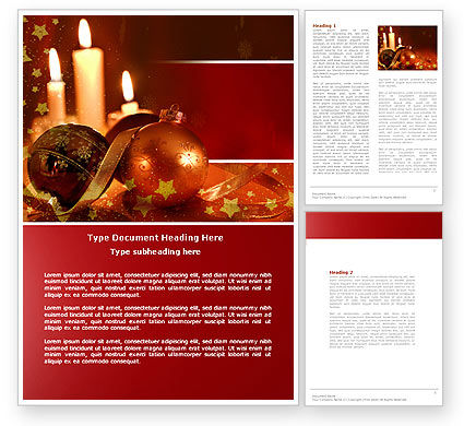 Holiday/Special Occasion: Christmas Decorations And Candles Word Template #04211