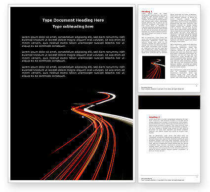 Highway Lights Word Template, 04216, Construction — PoweredTemplate.com