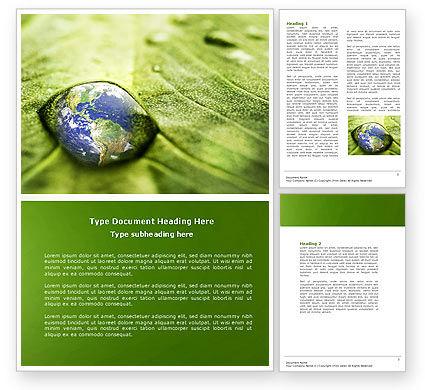 Water Drop Word Template, 04223, Nature & Environment — PoweredTemplate.com