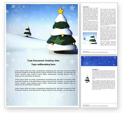 Holiday/Special Occasion: Christmas Tree On The Blue Snow Word Template #04231