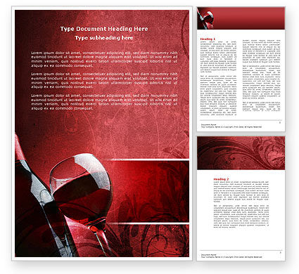 Wine Glass Word Template, 04235, Food & Beverage — PoweredTemplate.com