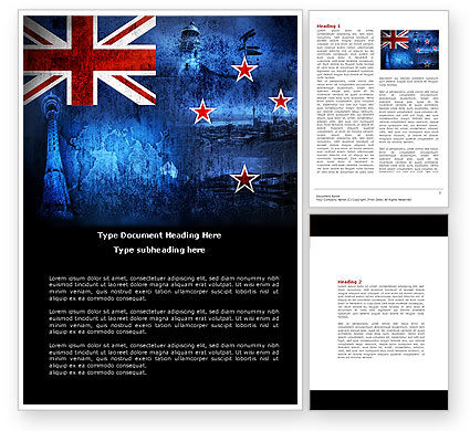 Flags/International: New Zealand Word Template #04258