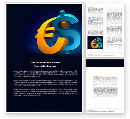 Euro vs. Dollar Word Template, 04268, Financial/Accounting — PoweredTemplate.com